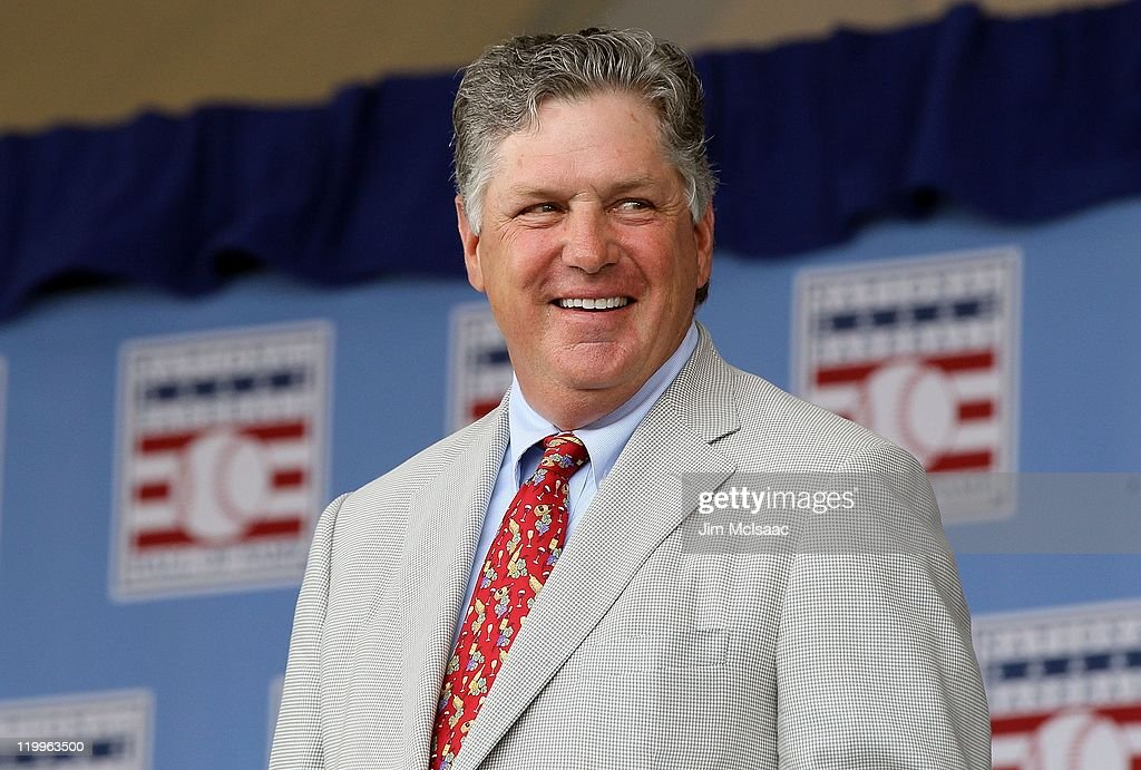 Hall of Famer Tom Seaver is introduced at Clark Sports Center during the Baseball Hall of Fame induction ceremony on July 24 2011 in Cooperstown New...