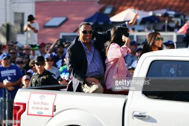 Hall of Famer Tony Perez arrives during the 2017 Hall of Fame Parade of Legends at the National Baseball Hall of Fame on Saturday July 29 2017 in...