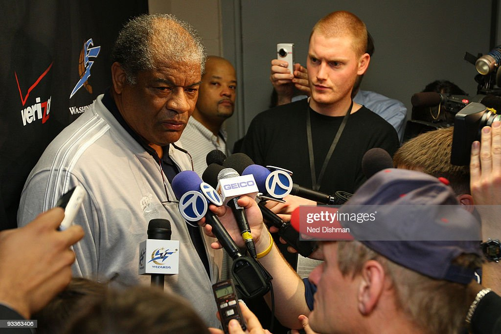 Hall of Famer <a gi-track='captionPersonalityLinkClicked' href=/galleries/search?phrase=Wes+Unseld&family=editorial&specificpeople=212864 ng-click='$event.stopPropagation()'>Wes Unseld</a> speaks with reporters about the death of Wizards owner Abe Pollin before the Washington Wizards game against the Philadelphia 76ers at the Verizon Center during the game on November 24, 2009 in Washington, DC.