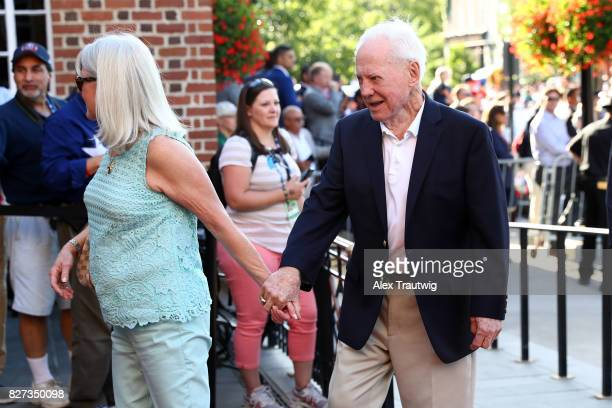 Hall of Famer Whitey Ford arrives during the 2017 Hall of Fame Parade of Legends at the National Baseball Hall of Fame on Saturday July 29 2017 in...