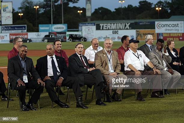 Hall of Famers attend pregame ceremonies following the opening the Hank Aaron Museum at the Hank Aaron Stadium on April 14 2010 in Mobile Alabama...