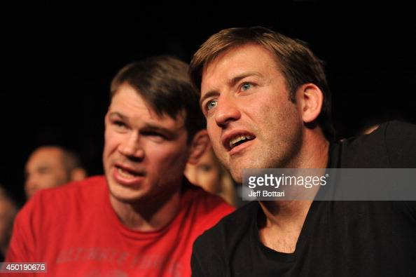Hall of Famers Forrest Griffin and Stephen Bonnar attend the UFC 167 event at the MGM Grand Garden Arena on November 16 2013 in Las Vegas Nevada