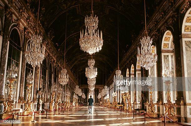 Hall of mirrors Palace of Versailles in Versailles France Yvelines