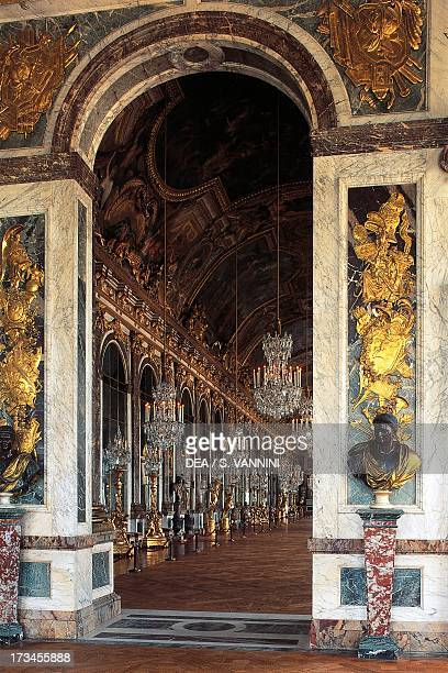 Hall of Mirrors seen from the Apollo Room Palace of Versailles IledeFrance France