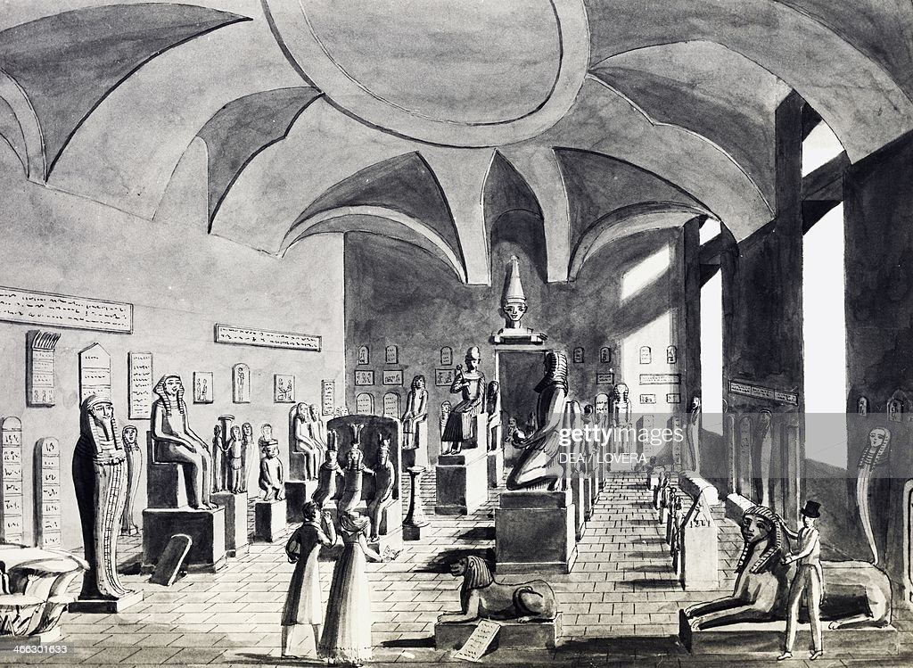 Hall of the Egyptian Museum of Turin, watercolour drawing by Mark Nicolosino (1797-1856).
