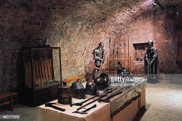 Hall of weapons and armour Chateau d'Etchauz SaintEtiennedeBaigorry Aquitaine France