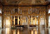 hall palace interior in Pushkin Saint-petersburg Russia