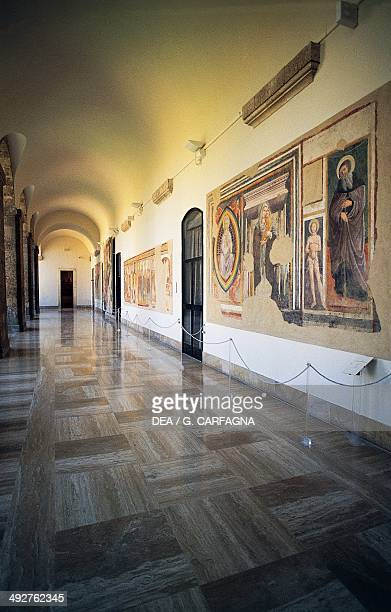 Hall with frescoes first floor of the National Museum of Abruzzo L'Aquila Abruzzo Italy