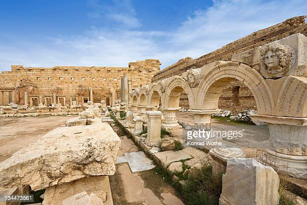 Hall with Medusa Medallions, New Forum, Severan Forum, Leptis Magna, Libya, Africa