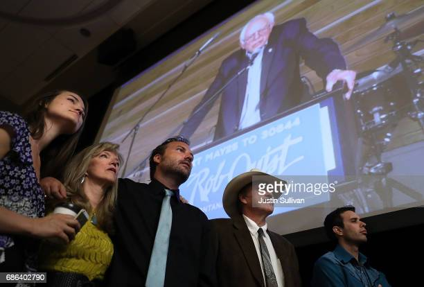 Halladay Quist Bonni Quist Guthrie Quist and democratic US Congressional candidate Rob Quist look on as US Sen Bernie Sanders speaks during a...
