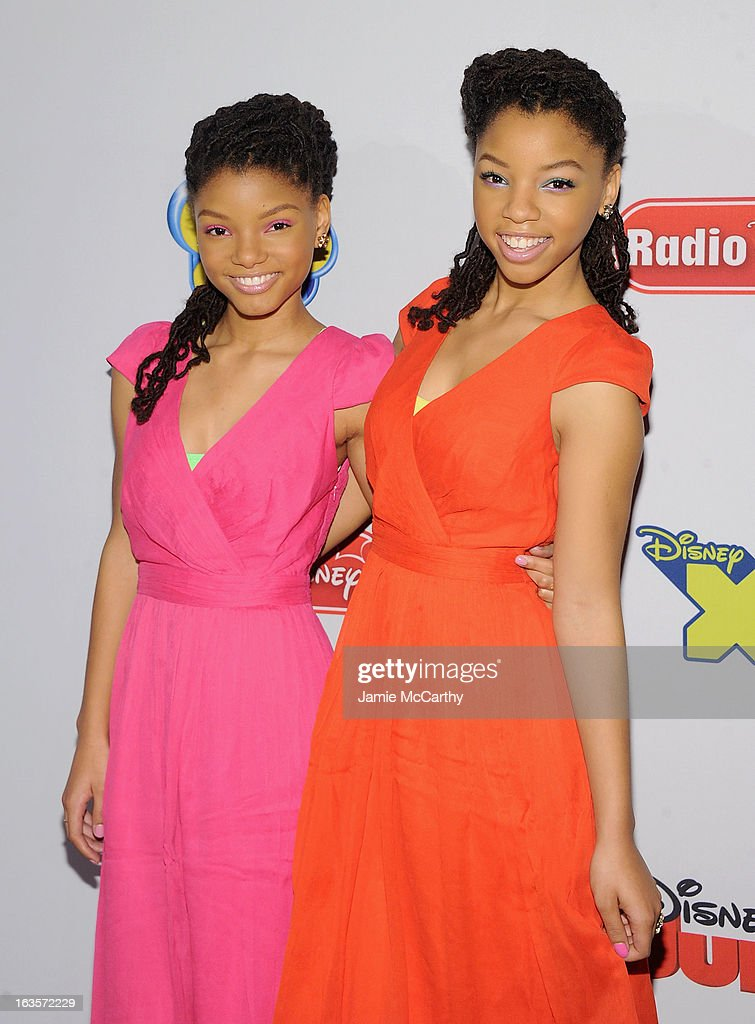 <a gi-track='captionPersonalityLinkClicked' href=/galleries/search?phrase=Halle+Bailey+-+Musician&family=editorial&specificpeople=4964042 ng-click='$event.stopPropagation()'>Halle Bailey</a> and <a gi-track='captionPersonalityLinkClicked' href=/galleries/search?phrase=Chloe+Bailey+-+Musician&family=editorial&specificpeople=15633805 ng-click='$event.stopPropagation()'>Chloe Bailey</a> attend the Disney Channel Kids Upfront 2013 at Hudson Theatre on March 12, 2013 in New York City.
