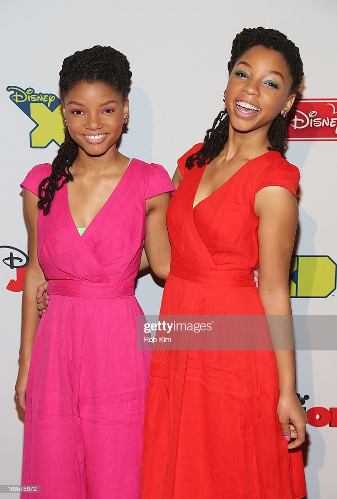 <a gi-track='captionPersonalityLinkClicked' href=/galleries/search?phrase=Halle+Bailey+-+Musician&family=editorial&specificpeople=4964042 ng-click='$event.stopPropagation()'>Halle Bailey</a> (L) and <a gi-track='captionPersonalityLinkClicked' href=/galleries/search?phrase=Chloe+Bailey+-+Musician&family=editorial&specificpeople=15633805 ng-click='$event.stopPropagation()'>Chloe Bailey</a> attend the Disney Channel Kids Upfront 2013 at Hudson Theatre on March 12, 2013 in New York City.