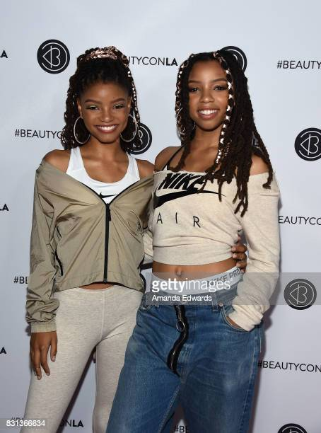 Halle Bailey and Chloe Bailey of Chloe X Halle attend the 5th Annual Beautycon Festival Los Angeles at the Los Angeles Convention Center on August 13...