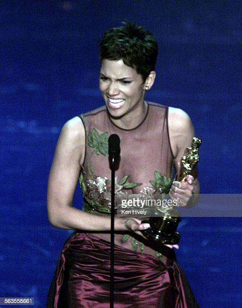 Halle Barry is the first African American actress to win the Best Actress award for 'Monster's Ball' at the 74th Annual Academy Awards at the Kodak...
