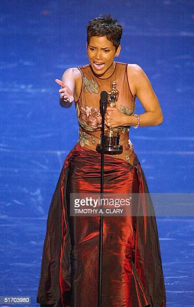 Halle Berry accept her Oscar for Best performance by an actress in a leading role during the 74th Academy Awards at the Kodak Theater in Hollywood 24...