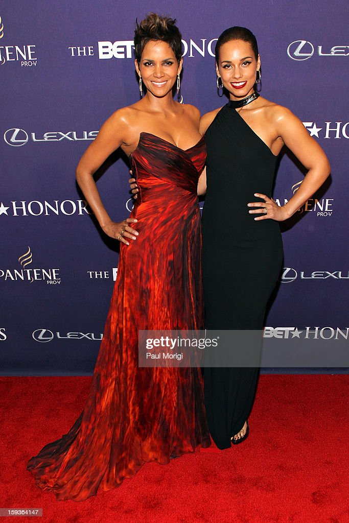 <a gi-track='captionPersonalityLinkClicked' href=/galleries/search?phrase=Halle+Berry&family=editorial&specificpeople=201726 ng-click='$event.stopPropagation()'>Halle Berry</a> and <a gi-track='captionPersonalityLinkClicked' href=/galleries/search?phrase=Alicia+Keys&family=editorial&specificpeople=169877 ng-click='$event.stopPropagation()'>Alicia Keys</a> attend BET Honors 2013: Red Carpet Presented By Pantene at Warner Theatre on January 12, 2013 in Washington, DC.