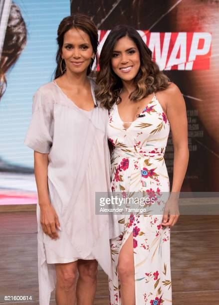 Halle Berry and Francisca Lachapel are seen on the set of 'Despierta America' to promote the film 'Kidnap' at Univision Studios on July 24 2017 in...