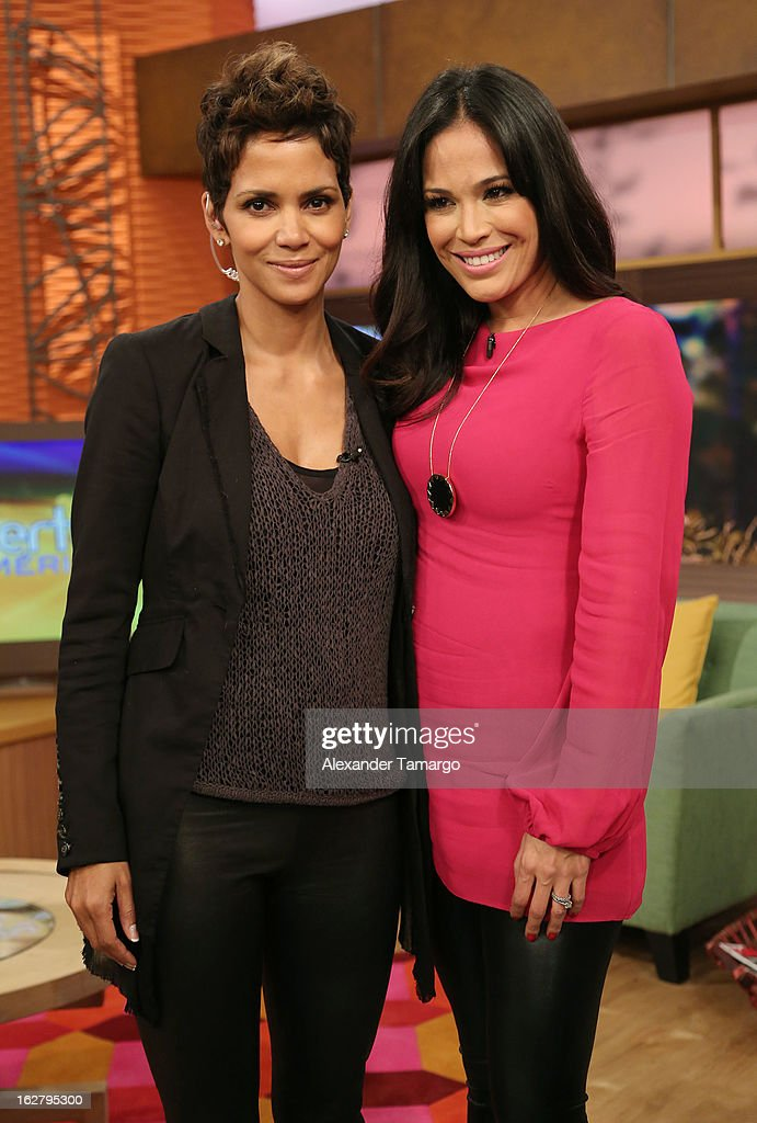 <a gi-track='captionPersonalityLinkClicked' href=/galleries/search?phrase=Halle+Berry&family=editorial&specificpeople=201726 ng-click='$event.stopPropagation()'>Halle Berry</a> and <a gi-track='captionPersonalityLinkClicked' href=/galleries/search?phrase=Karla+Martinez&family=editorial&specificpeople=732238 ng-click='$event.stopPropagation()'>Karla Martinez</a> appear on Univision's Despierta America to promote her film 'The Call' at Univision Headquarters on February 27, 2013 in Miami, Florida.
