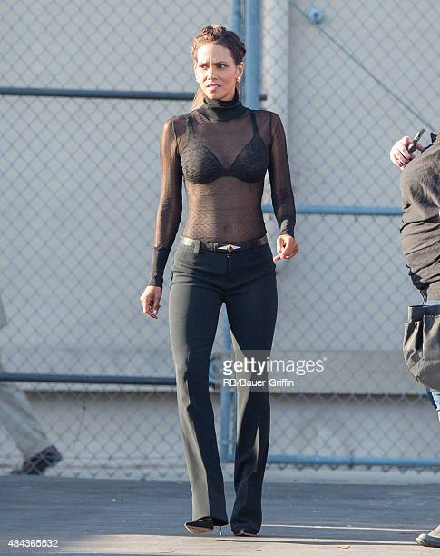 Halle Berry is seen at 'Jimmy Kimmel Live' on August 17 2015 in Los Angeles California