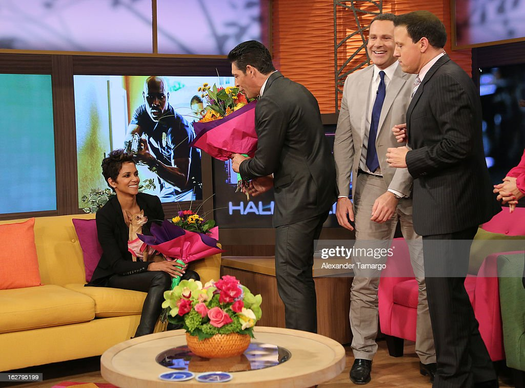 Halle Berry, Johnny Lozada, Alan Tacher and Raul Gonzalez appear on Univision's Despierta America to promote her film 'The Call' at Univision Headquarters on February 27, 2013 in Miami, Florida.