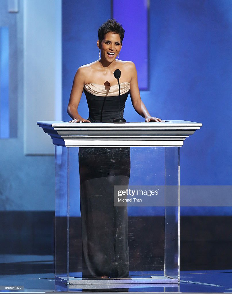 Halle Berry speaks at the 44th NAACP Image Awards - show held at The Shrine Auditorium on February 1, 2013 in Los Angeles, California.