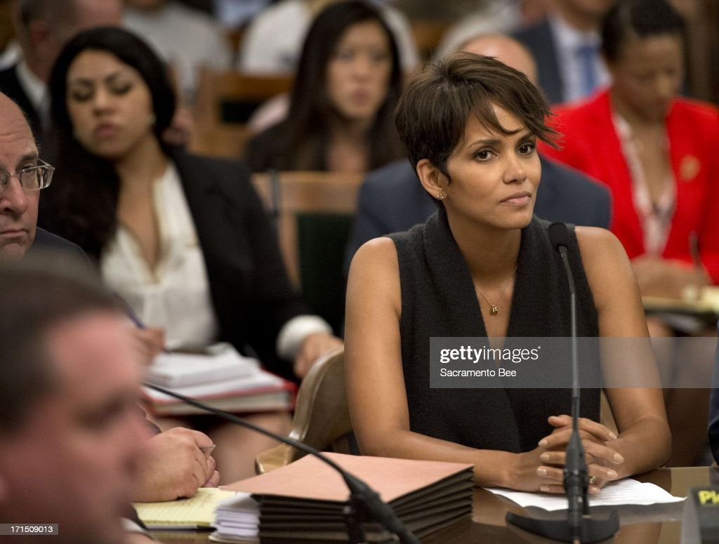 Halle Berry testifies before the Assembly Committee on Public Safety at the state Capitol on Tuesday, June 25, 2013, in Sacramento, California, regarding Senate bill SB 660, which would restrict paparazzi from harassing people. The committee voted in favor of the bill, despite opposition from advocates who warned it could hamper news-gathering operations.
