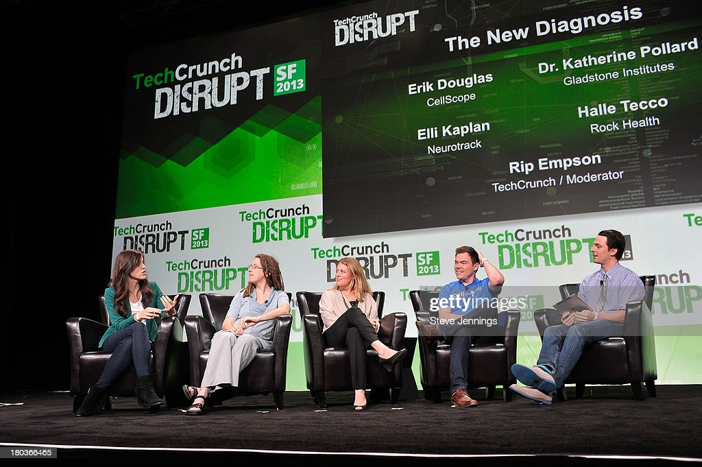 Halle Tecco, Dr. Katherine Pollard, Elli Kaplan, Eric Douglas and Rip Empson (L-R) attend Day 3 of TechCrunch Disrupt SF 2013 at San Francisco Design Center on September 11, 2013 in San Francisco, California.