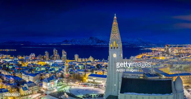 Hallgrimskirkja Church, Reykjavik Iceland. This image is shot using a drone.