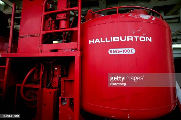 A Halliburton cement mixing tank operates on board the Transocean Ltd Development Driller II rig which is drilling a relief well at the BP Plc...