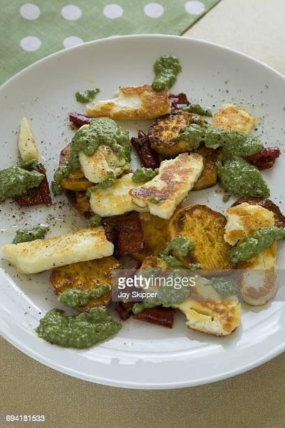 Halloumi, sweet potato, pepper and pesto salad