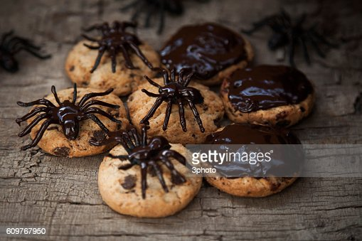 Halloween cookie with chocolate spiders