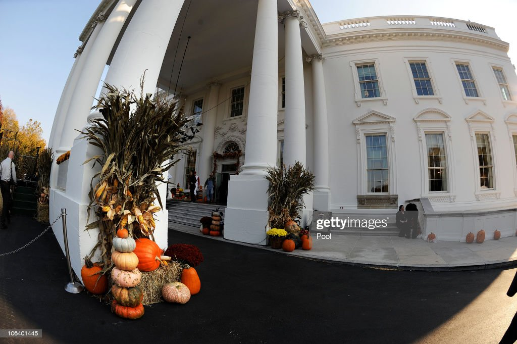 White House Decorated For Halloween Part - 25: Halloween Decorations Are Seen At The North Portico Of The White House  October 31, 2010