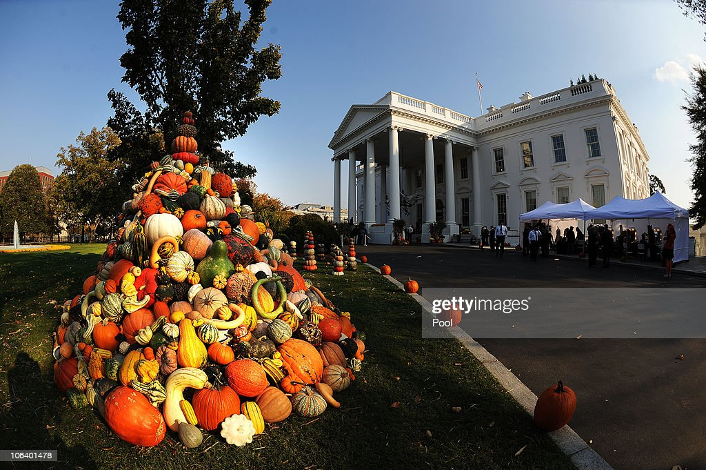 Exceptional White House Decorated For Halloween Part - 10: Halloween Decorations Are Seen At The North Portico Of The White House  October 31, 2010