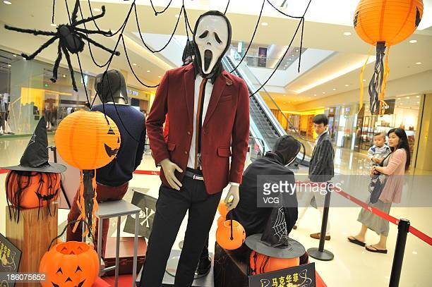 Halloween decorations go up in a shopping mall as the Hallow's Day or 'Halloween' approache October 27 2013 in Nanning China