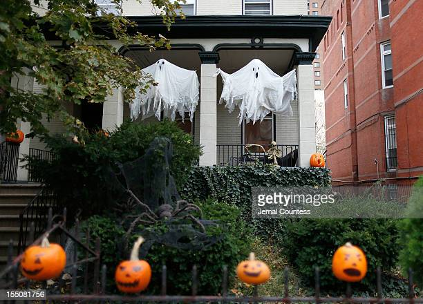 Halloween display of pumpkins and decorations as Brooklyn residents participate in Halloween activities on October 31 2012 in New York City