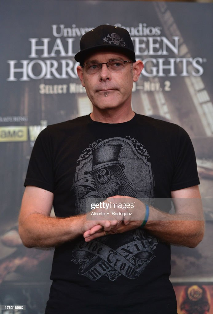 'Halloween Horror Nights' creative director John Murdy attends Universal Studios' 'Halloween Horror Nights' media make-up kick-off at The Globe Theatre on August 27, 2013 in Universal City, California.