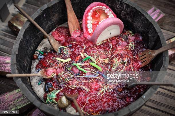 Halloween Jelly soup with worms and bugs