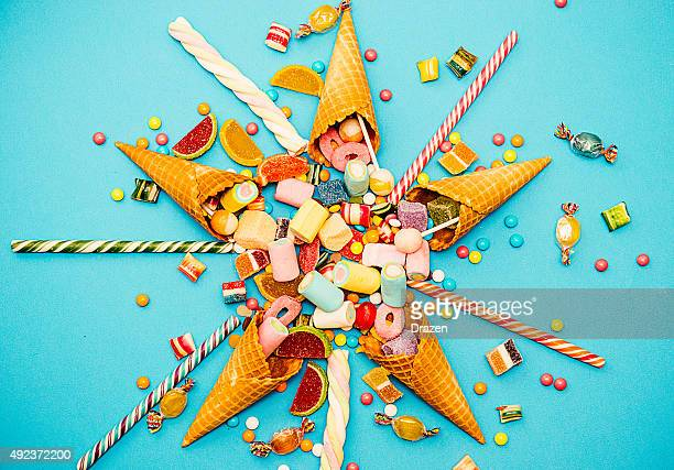 Halloween or Christmas candy, vintage sweet food concept on blue
