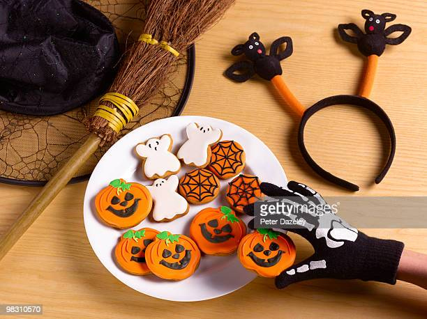Halloween party with witches costume and cookies