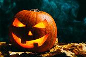 Halloween pumpkin lantern with dry leaves on a smoky dark background