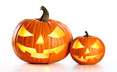 Two Carved Pumpkin On White Background