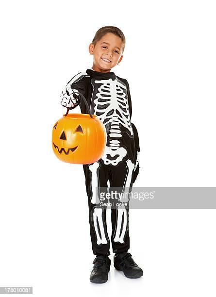 Halloween: Skeleton Boy with Pumpkin
