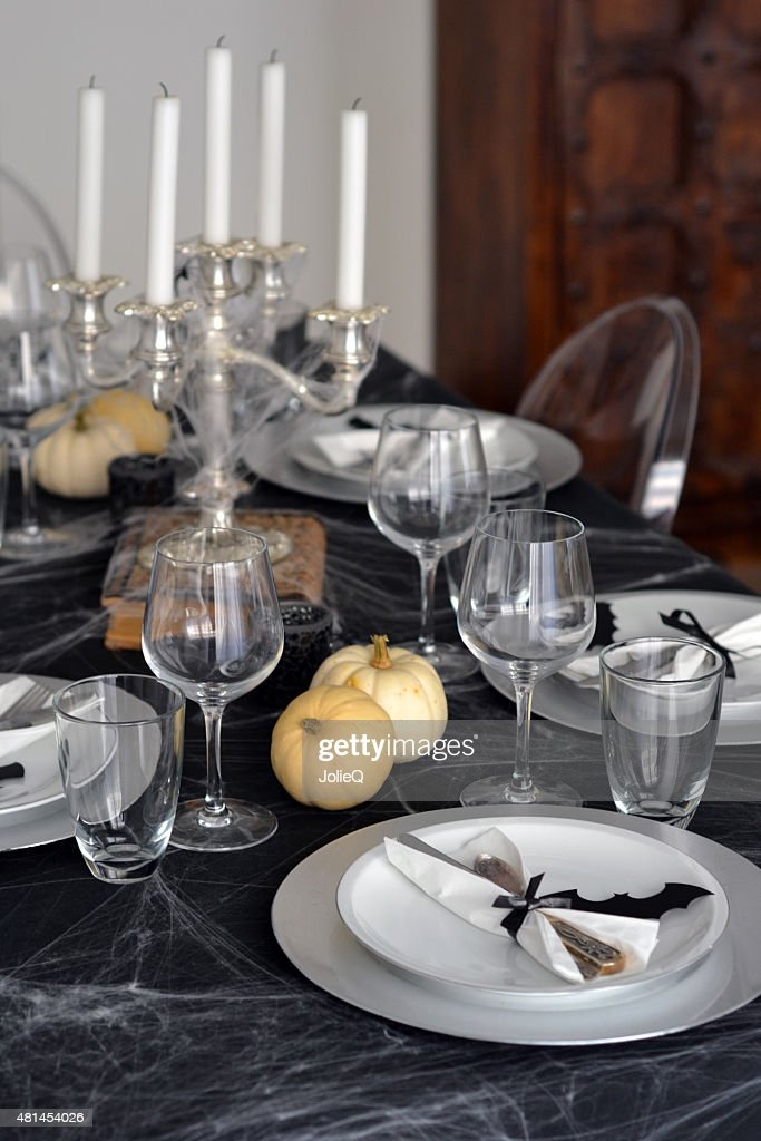 Halloween Table Setting In Black And White Style : Stock Photo