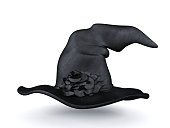 Halloween Witch Hat isolated on white background, 3D rendering