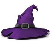 Halloween, witch hat. Purple hat with black belt. Isolated on white background