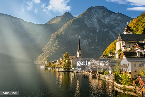 Hallstatt at Morning with Sunlight and Reflection on the Lake, Austria