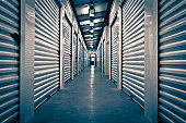 A vanishing point perspective of a Storage Facility.