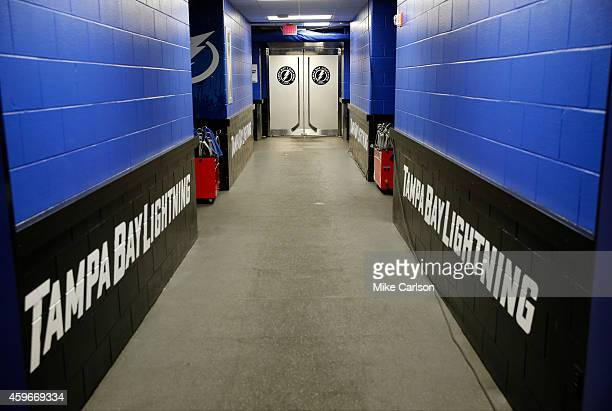Hallway to the locker room of the Tampa Bay Lightning at the Amalie Arena on November 26 2014 in Tampa Florida