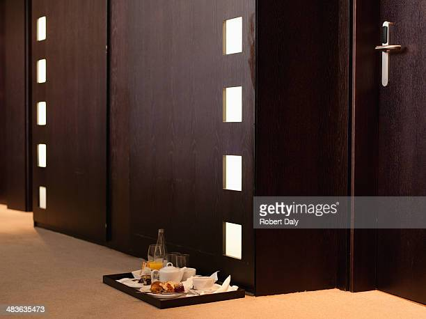 Hallway with room service tray in hotel
