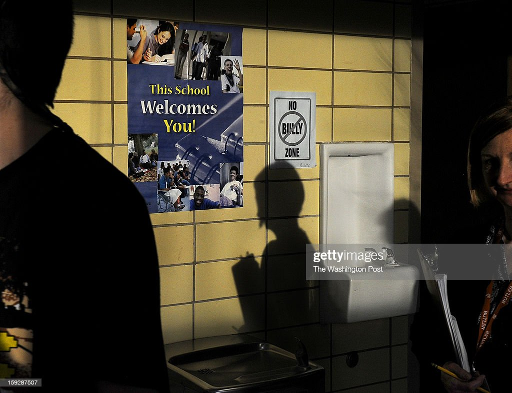 Hallways at Butler H.S. feature posters for an anti-bullying campaign that is on-going at the school. Schools in Butler, PA are using retired state troopers to guard their schools in the wake of the Newtown, CT shootings. Photo by Michael S. Williamson/The Washington Post via Getty Images